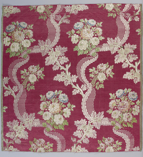 Silk fragment showing design of ivory curving ribbon wrapped around a bouquet of flowers on a deep red background. A flowering branch connects the two ribbons side by side.