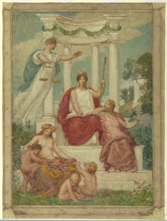Drawing, The Beneficence of the Law, Design for Mural at Essex County Court House, Newark, NJ