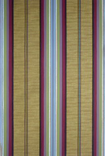 Central band of stripes with strie ground. Large central band of stripes alternating with thin lines of color. Printed in black, magenta, lilac, green, white, gray, brown and dark green on a yellow/brown strie ground.