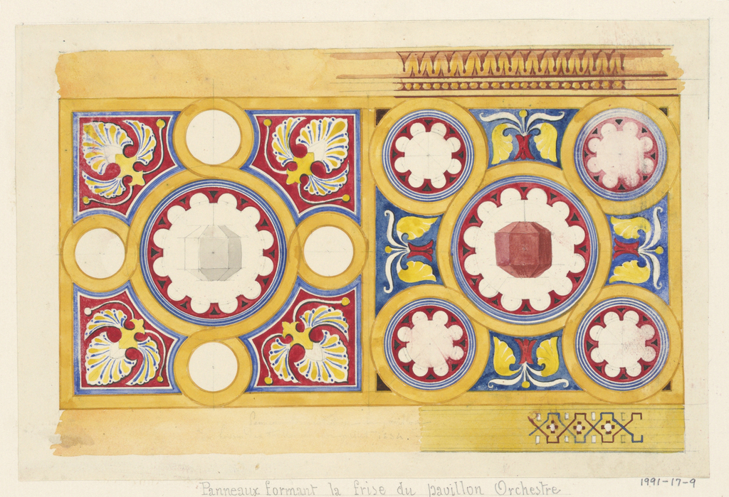 Geometric oriental design in blue, red, and gold for frieze panels of music pavilion (see 1991-17-7).  Panel design divided into two squares divided into quatrofoil-like pattern with faceted objects in central circle.  Decorative bands at top and bottom are partially described.