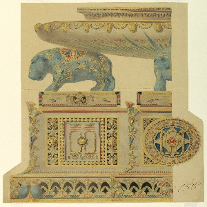 Composite design for side view and end view of a large table centerpiece.  The side view (to the left) consists of a tall base decorated in the middle with a rectangular cartouche filled with Egyptian motifs, including vertical bands of papyri, on either side of a central field of double rings, joined by a stylized flower, above double necklace motifs. The edge of the base has a band of stylized papyri and scarob beetles.  Above the base, a blue hippopotamus, painted with flying birds and stylized papyri, supports a large shallow bowl with flaring rim also decorated with papyri and a band of scarobs alternating with necklaces.  The end view of the surtout (to the right) shows a large roundel with state insignia in the middle including the ankh and the royal whip. The same border of papyri decorate edge of base with a central mask.  Above the base is a partial view of a blue hippopotamus supporting a shallow bowl.