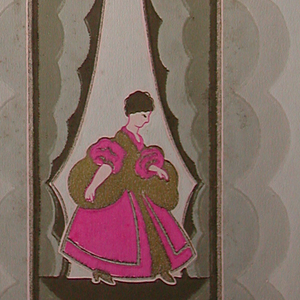 Scalloped stripe with draped opening to reveal female figure in 18th century costume. Printed in taupe, three shades of grey, brown, bright pink and gold.
