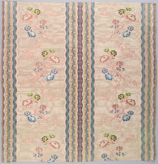 Light rose moiré taffeta ground with floral serpentines partly brocaded in colored silks and partly created by floats of the alternate pink and white primary wefts. Taffeta ground interrupted by stripes of satin weave with superimposed blossoms.