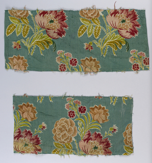 "Sixteen pieces of brocaded silk: large naturistic bunch of flowers arranged in staggered rows – two per row – in pink, red, yellow-green and ochre chenille on a green-blue ""ribbed"" backround. Loomed width about 20 1/2 inches."