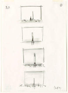 "Four small, vertically-aligned sketches of a stage, each with a single, tall chair at or near center. In sketch one. The chair is facing left and there is a figure to its left. In lower right, handwritten text: ""(2 of 7)."""