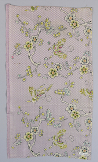 Flowering fruit boughs and butterflies in shades of blue-green, yellow-green and whit with touches of black and red, drawn in black outlines on pale mauve ground, with checkered effect. One broad tabby selvage.