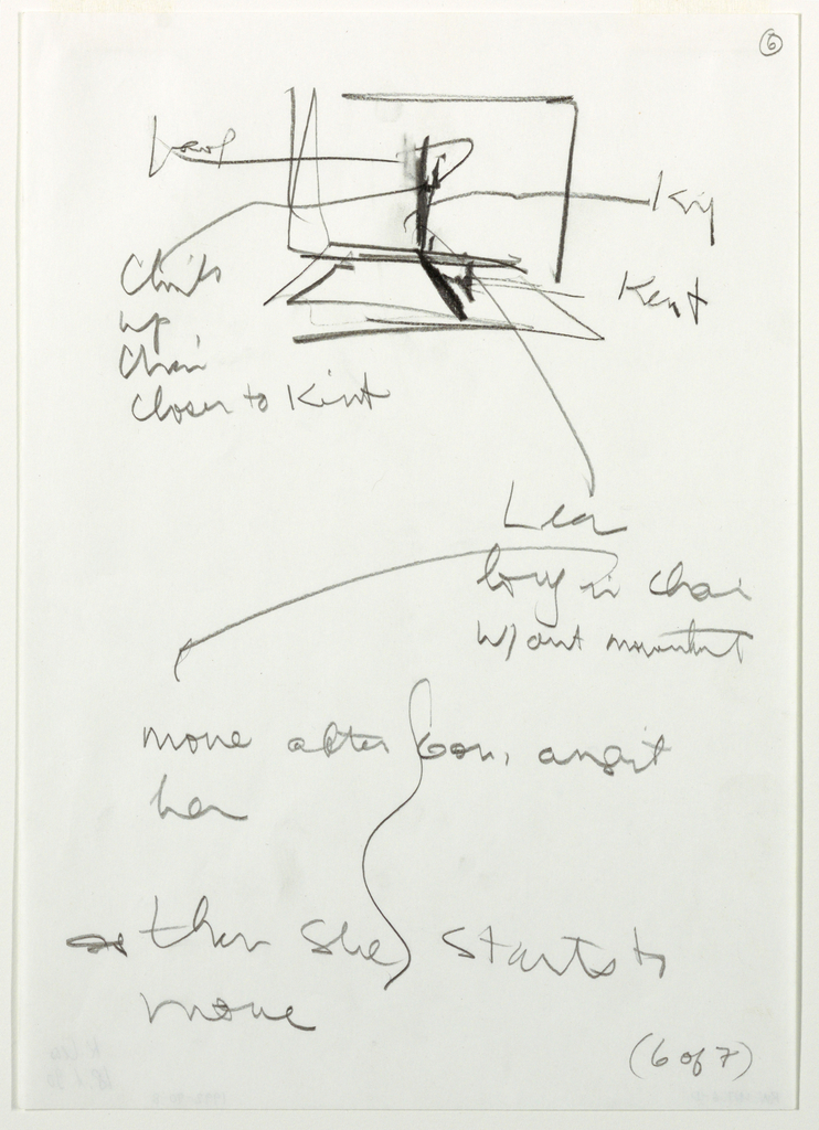 """Sketch of stage in top center of sheet with tall chair and long bed. Artist's notes with arrows at left and right of sketch. Below, covering rest of sheet, additional notes by the artist. In bottom right corner, handwritten text: """"(6 of 7)"""""""