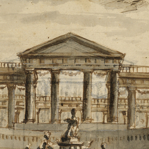 Design for a stage design.  A flight of stairs leads to a platform upon which three female figures are decorating a statue of goddess.  The platform is flanked by flights of stairs leading up to the atrium of a temple.  The temple appears not to have a roof.  The structure is placed in a garden setting with trees located off to the side and behind.  There are statues located in the distance, on either side of the temple.