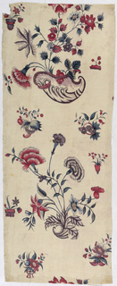 Fragment from a larger panel. Design of flowers springing from decorative shapes.