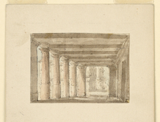 Horizontal rectangle. Portico in the antique style, buildings to be seen through column intervals.