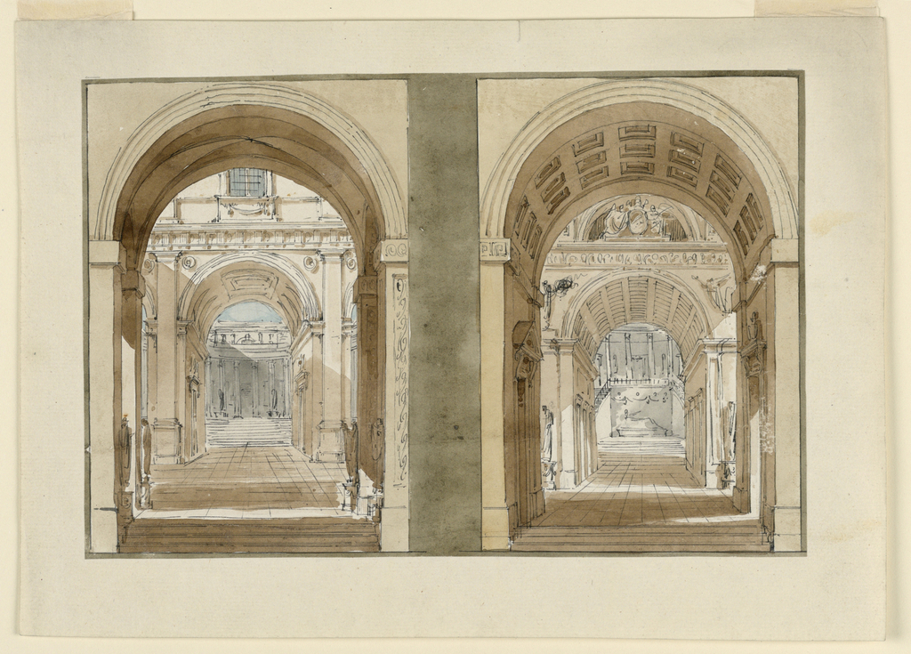 Drawing, Stage Designs, Views into Palace Courts
