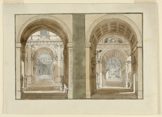 Horizontal rectangle. Two different drawings on one sheet showing interiors of palace courts and passages.