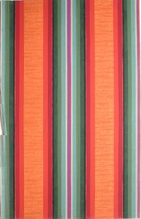 Large central band of stripes on strie ground. Stripes printed in dark orange, dark red, black, dark green, light green and magenta on an orange ground.