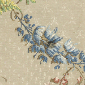 umbrella shaped flowers and leaves in greens, blues, reds and browns on a patterned white background