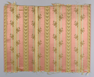 Ground in satin weave with vertical stripes of various widths. Some stripes in fancy weave. Ivory silk weft forms a design of small-scale spray of roses and fine dots. Each fragment has a different colour scheme - all in pastels. A/ green and pink, B/ pink and blue, C/ pink and green, D/ blue and pink. A/B/C/, have both selvages present. D/ has left selvage present.
