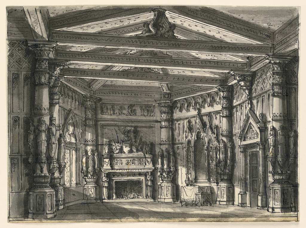 Horizontal rectangle. Interior of Gothic Hall, chimney places richly decorated with sculptures.