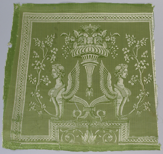 Pale green satin with a design of two addorsed sphinxes. Woven for a chair back.