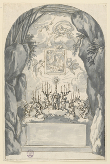 Drawing, Altar with Cr che, 1650–1700