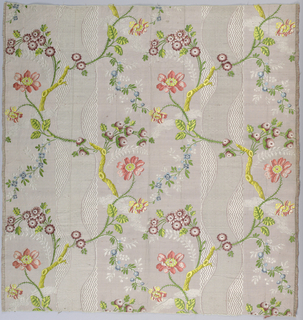Pale mauve ribbed silk with bright polychrome flowers and twigs in loose continuous serpentine over broad stripe made up of white cross-hatched serpentine on band of white zigzags. Fine floral, leaf and other details in white weft floats.