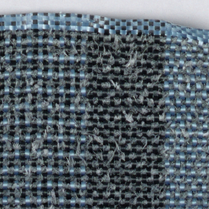 Warp: Blue and black rovana; Weft: grey asbestos. Plain weave with changes in warp colors for stripes.