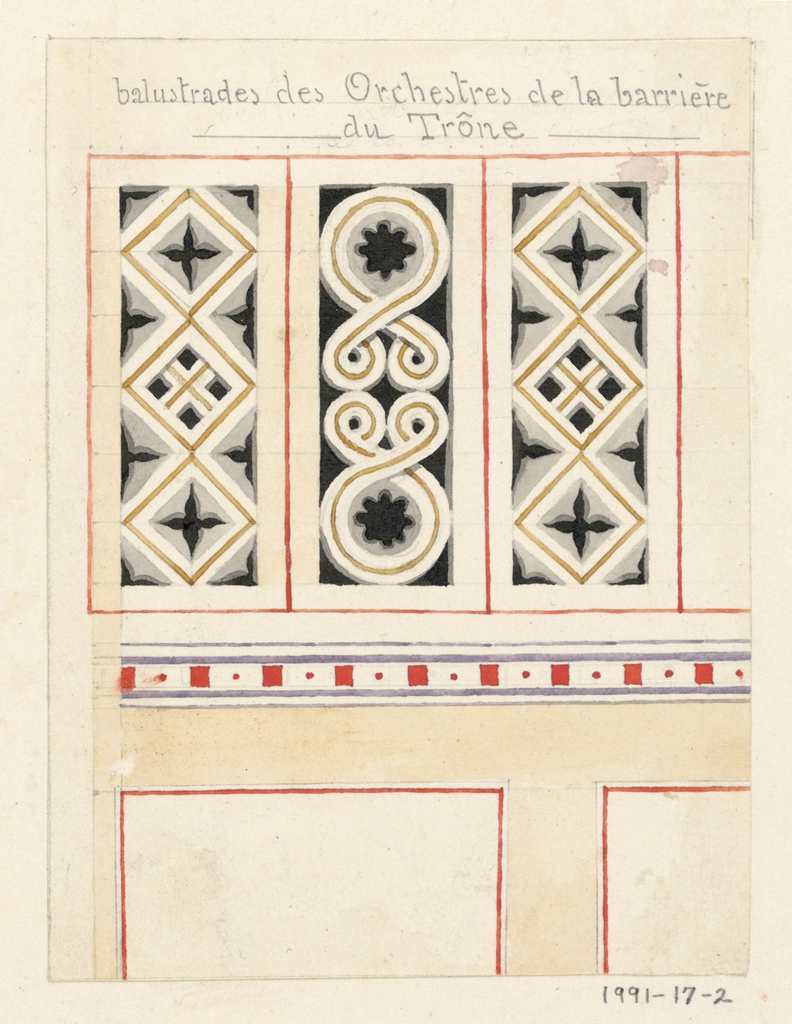 Design for a panel articulated at the upper section with three distinct vertical rectangle sections, each separated by a thin red line, and decorated with abstracted patterns of grey, black and gold.  Below this section is a thin horizontal band decorated with red squares and dots.  Below, partially shown, is the lower portion of the panel with a very simple, unadorned design consisting of a white rectangle, bordered in a thin red line and surrounded by a cream background.