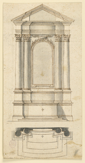 Vertical composition of an altar with three steps. The mensa and the inner sections of the dado and the base of the retable are curved.  On top of the frame of the picture is a crown, serving like a pin for the laurel branches springing from the upper part of the frame. At the bottom the plan is visible. There is an aedicula scheme with embedded columns supporting the entabulature and triangular pediment.