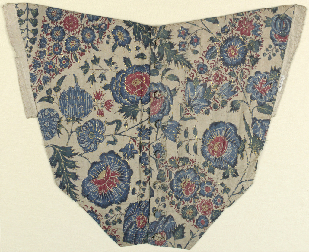 Roughly v-shaped front panel of bodice of fine white cotton cloth with painted and dyed design of variously decorated flower heads, pointed clusters of flowerets, and various leaf forms, on freely twining stems; in blue, red, green, yellow, with much reserved filling decoration. Remnants of accents of gold leaf on wax or gum base. Lined with white silk cloth; boned; buttons of self material down front center. Two fronts of a woman's bodice, with eight buttoms made from the chintz; buttonholes worked in white.  Design: Various flower heads on slender stems, largely in shades of blue with red centers; sprays of smaller flowers in red and blue; some yellow is left in two notched leaves of green. Much veining gin flowers by wax resist. Outlines of larger flower heads show gold leaf and accents for petals and veining. Bodice front lined with white silks and boned.