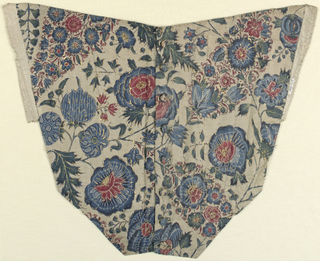 Roughly v-shaped front panel of bodice of fine white cotton cloth with painted and dyed design of variously decorated flower heads, pointed clusters of flowerets, and various leaf forms, on freely twining stems; in blue, red, green, yellow, with much reserved filling decoration. Remnants of accents of gold leaf on wax or gum base. Lined with white silk cloth; boned; buttons of self material down front center. Two fronts of a woman's bodice, with eight buttoms made from the chintz; buttonholes worked in white. 