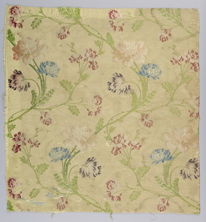 strip of cream colored ribbed silk fancy plain cloth brocaded in blue, rose, green and purple silk - design of swinging slender branches and flowers - made up of five fragments and trimmed with gold ribbon and fringe.