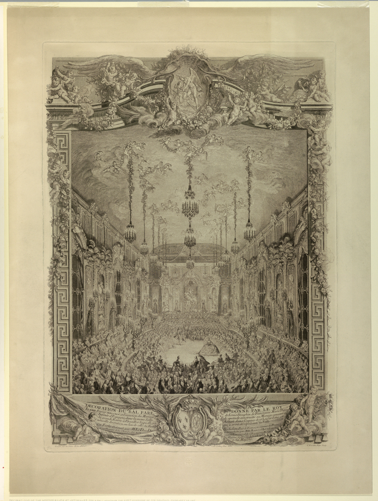 Decorations of the Grand Ecurie at Versailles for a ball honoring the first marriage of the Dauphin, February 24, 1745. The chamber, filled with people, is seen from the end. Below, a ten line explanatory inscription and designer's and engravers names; also indication that the decorators for the occasion were Slotz at Perot.