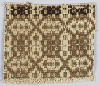 Fragment showing traditional geometric design in brown wool and undyed cotton.