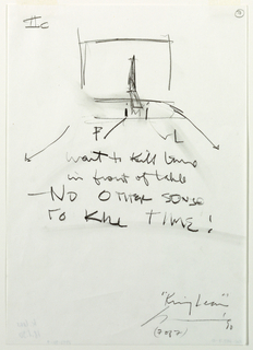 "In top left corner, handwritten text: ""IIc."" Small sketch of stage with tall chair and long, low bed in top third of sheet, at center. Below, over rest of sheet, Artist's notes. In lower right corner, handwritten text:  ""'King Lear' [Artist's Signature] (7 of 7)"""