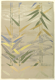 Panel of tan silk with figured design of bamboo branches in green, yellow, tan, blue silks, and gilt paper.