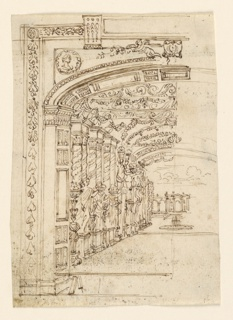 Vertical format. Left-hand portion of a proscenium, with a columned and statued hall receding back and opening on to a garden, with a fountain. Back drop is an architectural screen, or casino. Right half of drawing incomplete.