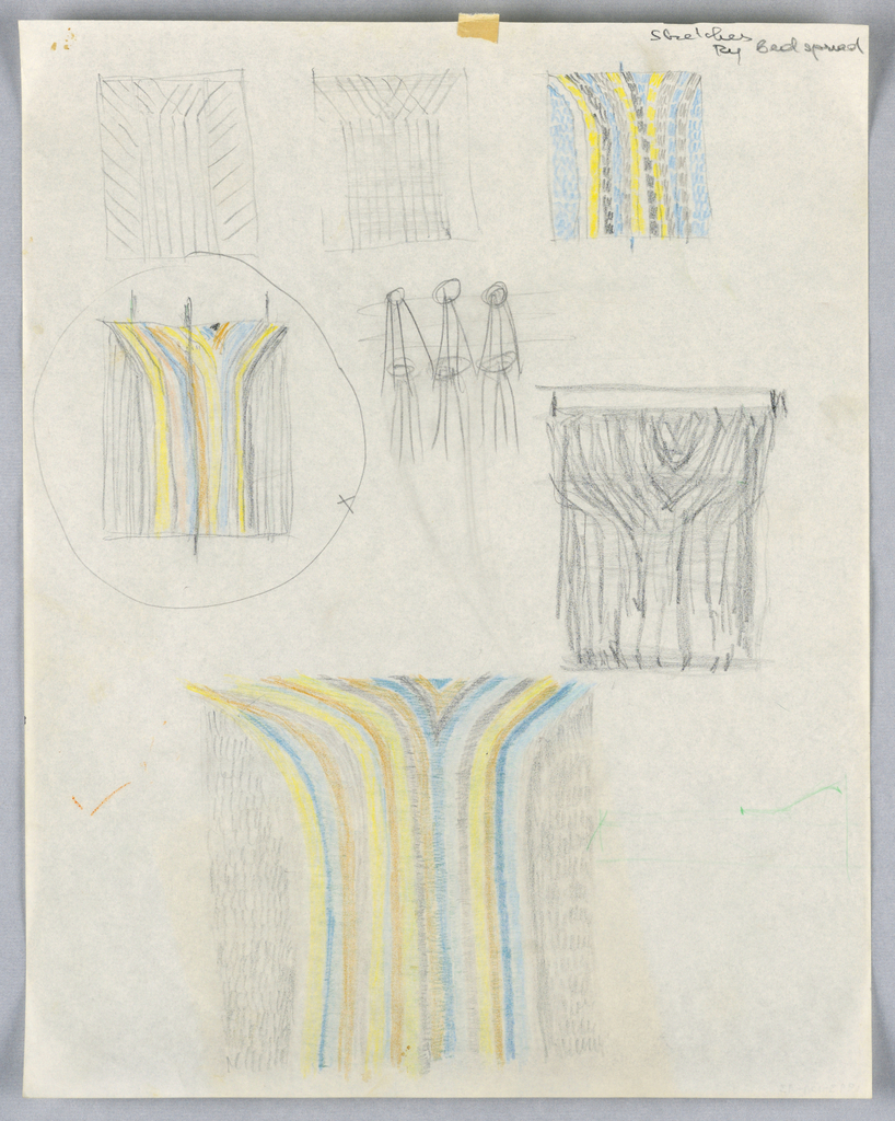 """Seven separate sketches for bedspread designs, (one is circled and marked with """"X"""") at center left, showing different striping patterns, and one sketch, possibly of a hanging system, to be used when spread is not on bed."""