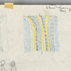 "Seven separate sketches for bedspread designs, (one is circled and marked with ""X"") at center left, showing different striping patterns, and one sketch, possibly of a hanging system, to be used when spread is not on bed."