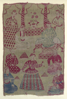 Fragment of a pattern featuring courtly entertainment with man seated on throne, two male servants, bowls of fruit or sweetmeats, and a dancer. An interior setting is indicated by pillars and drawn back curtains. Sad colors in roses and blue on what was once a gold background.