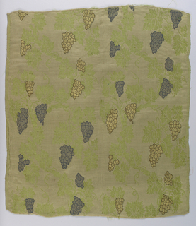 Curving vine pattern with bunches of grapes on a dull green background.