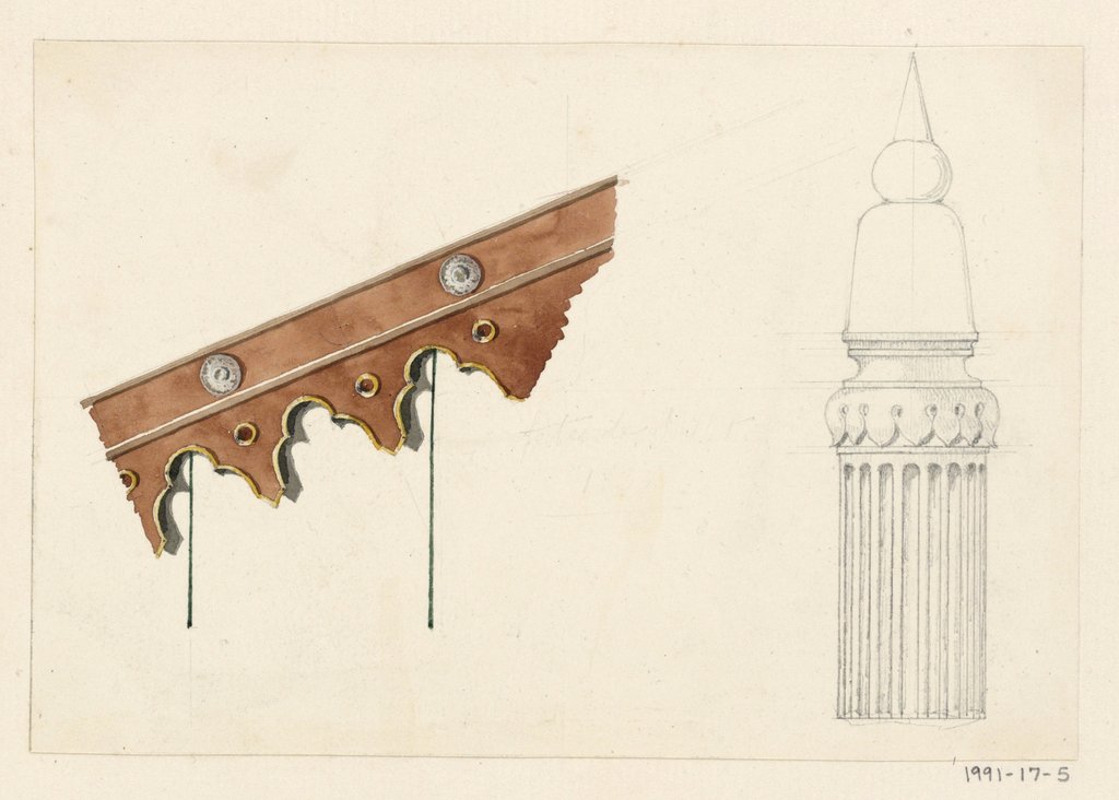 Design for a cornice and a column.  Right: Design in graphite for a fluted column with a capital of broadly-shaped, stylized petals pointed downwards.  The column is surmounted by an elongated bell-shaped form, which in turn supports a smaller spherical form, upon which rests a conical form.  Left: Section of a brown colored cornice displayed at a leftward sloping angle.  The top band of the cornice is punctuated with silver roundels and the lower cornice is cut out with cusped arches, which are interspersed with small gold rimmed roundels.  The arches are edged with gold coloring.  Two thin, green-black lines extend vertically from the cornice, indicating the wall below.