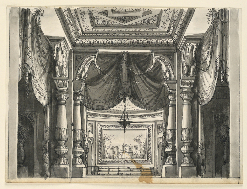 Horizontal rectangle. Interior of palace hall, richly decorated with draperies. Settee in semicircular alcove.