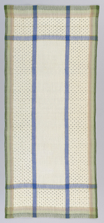 Plain white center rectangle with openwork border accented by bands of blue, green and gold.