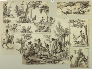 The composition of this design for a textile, includes four hounds crossing a small stream; hunters with spears and dogs pursuing the chase in the vicinity of a memorial column; a hunter with a spear directing two hunting dogs to the scent; a hunter on horseback, seen from the back; three hunters on horseback, and one unmounted, with three hunting dogs attacking a wild boar.