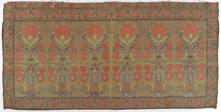 Two small panels showing a floral motif surrounded by a floral border in coral, green and light blue on a light brown ground. Floral motifs rise from a footed flat dish.