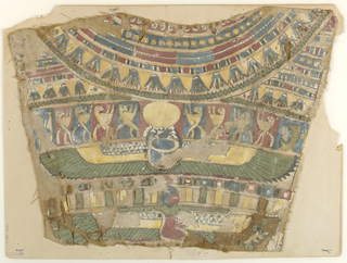 Cartonnage fragment from a mummy case of the 19th Dynasty showing the collar with a circle of lotus pendants, the god Khepri in the form of a winged scarab and the kneeling goddess Nephthys.