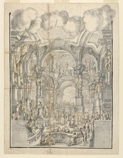 Vertical rectangle showing a palace court scene with clouds hang above an elaborate architectural space. Many figures bring tribute to a king standing at left, beneath a lofty baldacchino.  Columns with caryatids support arches.