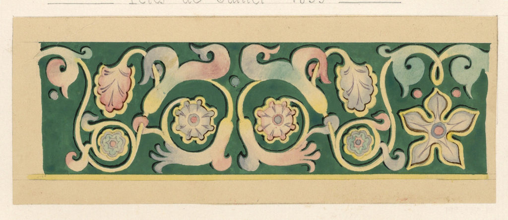 Design for a panel ornamented with an abstract vine motif and flowers in pink, blue, green, and yellow on a green ground.