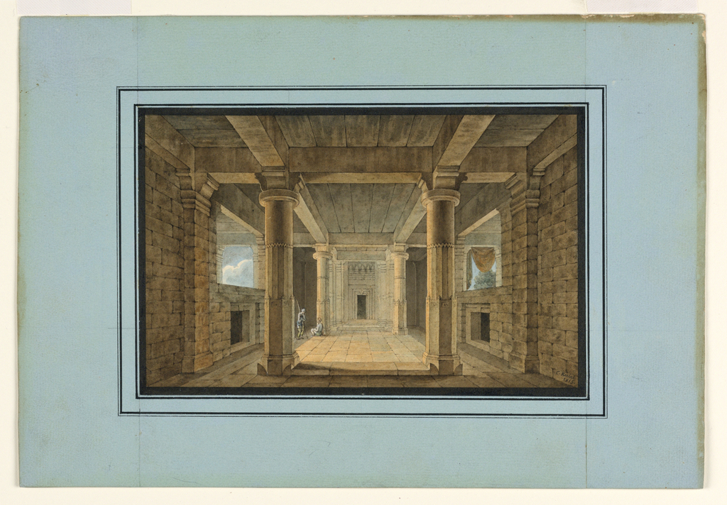 Drawing, Stage Design, Entrance to an Oriental Temple