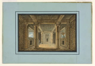 Horizontal rectangle. Interior of open-air temple hall with two male figures on left side. Sky, trees, and curtain visible through openings at either side.