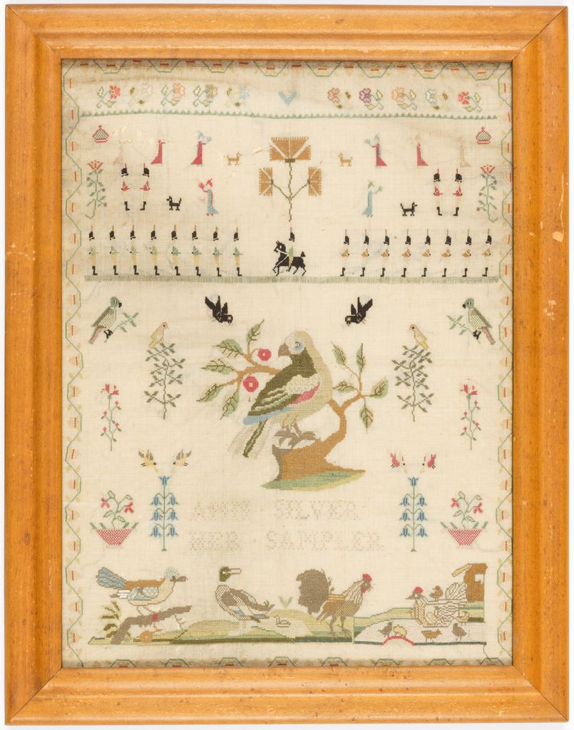 Dainty rows of soldiers and ladies holding fans, a large bird perched on a stump, and barnyard fowl, embroidered in colored silks on a white ground.