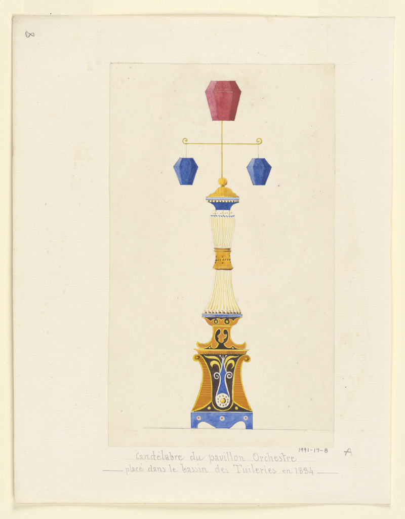 Design for a candelabrum surmounted by a t-shaped superstructure, which is topped with a red polyhedron lantern and two smaller blue lanterns suspended from the perpendicular arm of the superstructure.  Below this is the yellow, fluted and cinched columnar body of the candelabrum, which rests on a tall base articulated with abstracted vegetal ornaments in gold, black and blue, which in turn rests on a blue plinth with light blue and red circular ornaments.  The candelabrum is nearly identical to those represented in Blouet's drawing of a music pavilion,  1991-17-7.